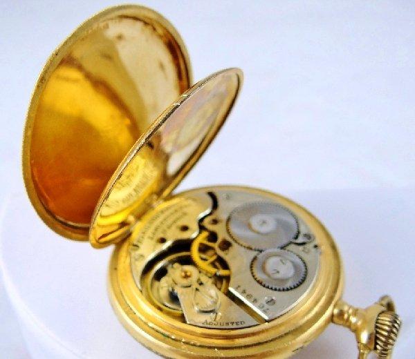 80A: 1909 Hamilton 17 Jewel 14K GF Pocket Watch - 4