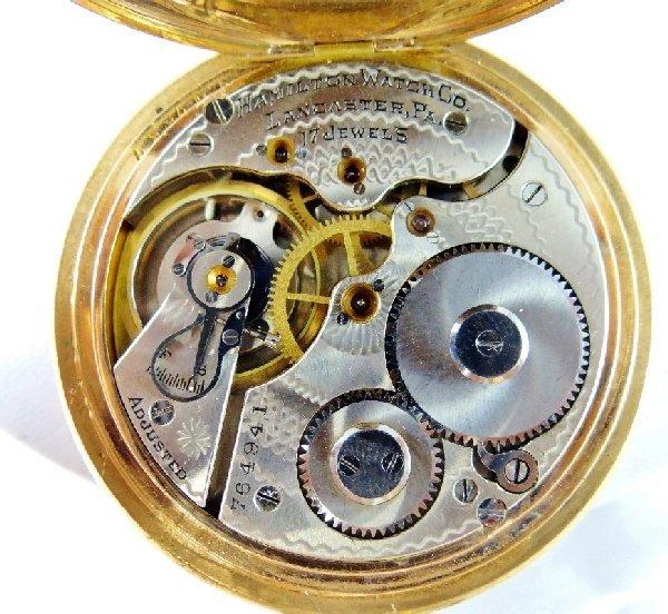 80A: 1909 Hamilton 17 Jewel 14K GF Pocket Watch - 5