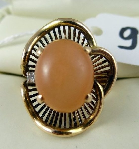 9F: 14K & Peach Gemstone/Genuine Diamond Ring
