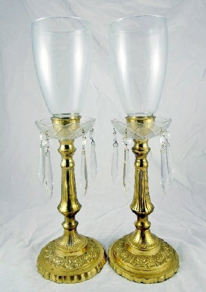 12: (2) Vintage Brass/Crystal Candle Holders