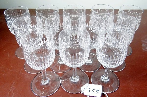 "25B: Lot of (12) ""Baccarat France"" Crystal Glasses"