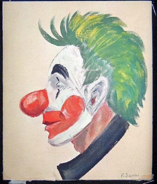 36B: Auth. Frank Sinatra Original Clown Painting - 3
