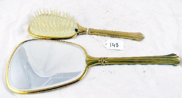148: Vintage Hand Mirror & Brush Set