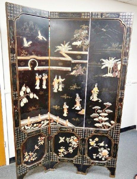 151: Antique 3-Panel Oriental Room Divider - 151: Antique 3-Panel Oriental Room Divider : Lot 0151