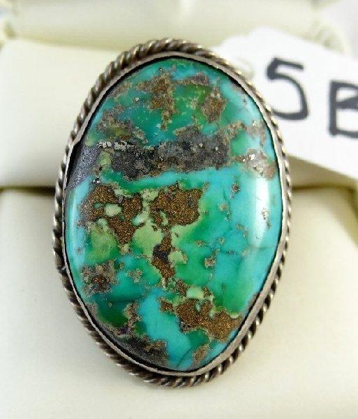 5B: Vtg. Men's Sterling & Turquoise Ring LARGE