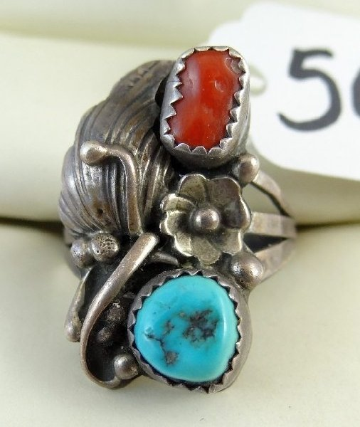 5C: Woman's Sterling, Turquoise, Red Coral Ring