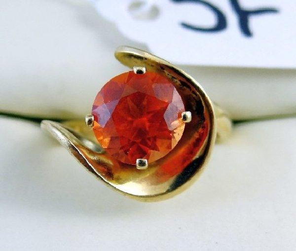 5F: 14K Yellow Gold & 2CT Orange Zircon Ring