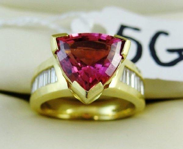 5G: 18K/3CT Pink Tourmaline/1.5CTTW Dmnd. Ring