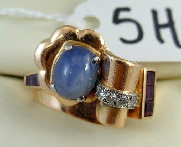 5H: 14K Rose Gold,Star Sapphire,Dmnd.,Ruby Ring