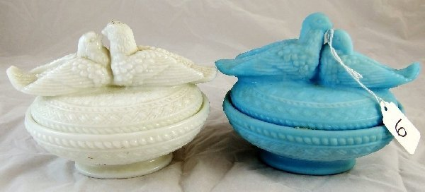 """6: (2) Westmoreland """"Lovebirds"""" Candy Dishes"""