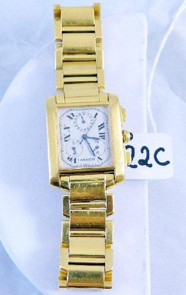 22C: Men's Cartier 18K Gold Tank Francaise Watch