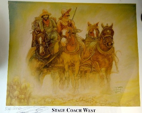 120: Vaughn Stout Stage Coach West Signed Litho.