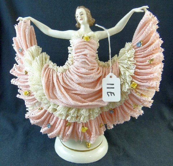 """11E: Antique Late 1800s Dresden """"Dancing Lady"""""""