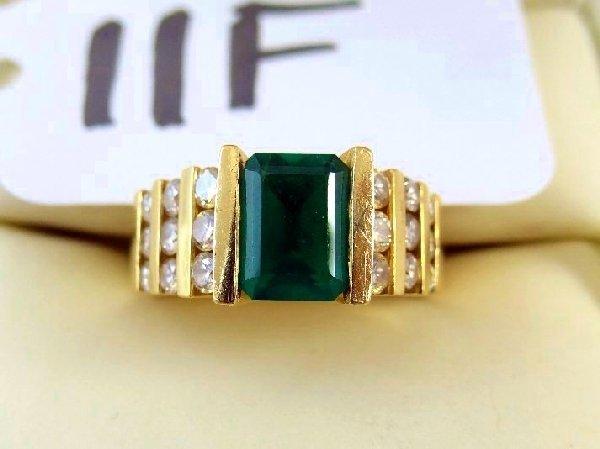 "11F: ""SGS"" 2CT Emerald? & Diamond & 14K Gold Ring"