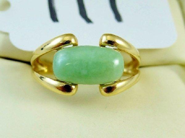 11I: 14K Yellow Gold 3CT Cabachon Pale Jade Ring