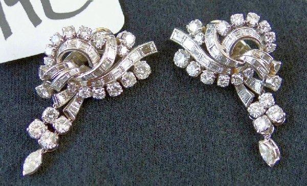 19C: Platinum & 7.56CTTW Diamond Earrings $20K