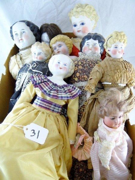 31: Lot of (9) Antique Porcelain Dolls