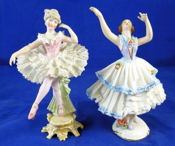 4: (2) Antique Dresden Style Porcelains