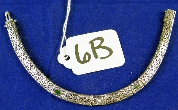 6B: 14K Gold, Diamond & Emerald Bracelet