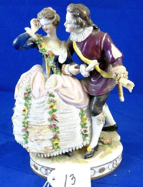 "13: ""Oldest Volkstedt Dresden"" Porcelain Couple"