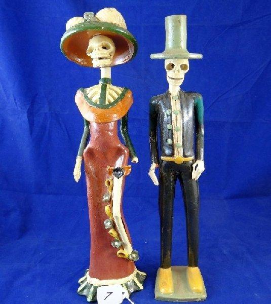 (2) Vintage Catrina Clay Skeleton Figurines