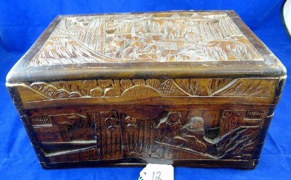 Antique Asian Hand Carved Wooden Box