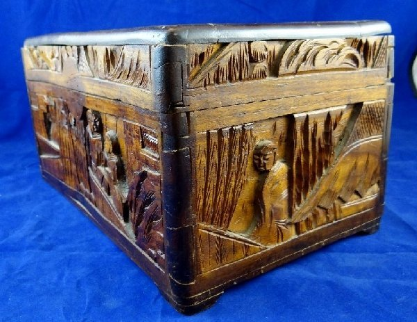 Antique Asian Hand Carved Wooden Box - 4