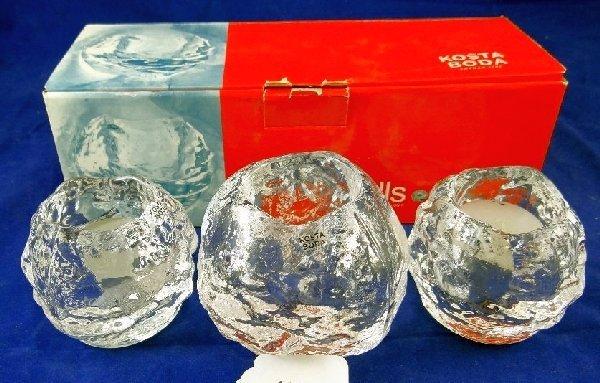 (3)Kosta Boda Elegant Crystal Candle Holders