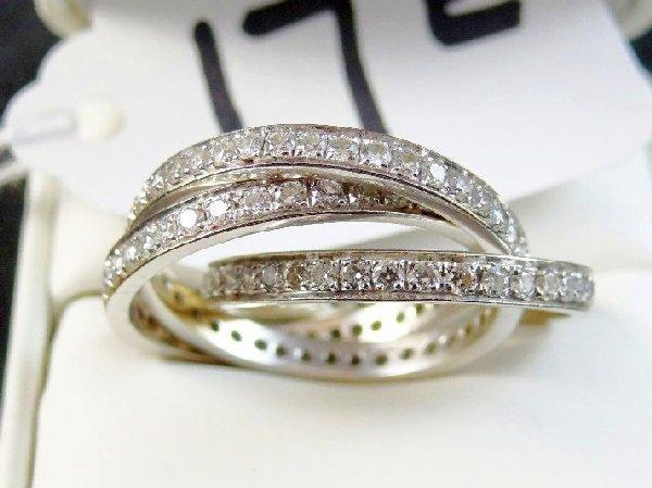 """Diamond & 18K White Gold """"Triple-Band"""""""