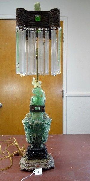 ANTIQUE SOLID JADE LAMP ON WOOD/BRONZE BASE