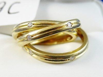 "9C: Cartier 18K Triple ""Trinity"" Ring W/Diamonds"