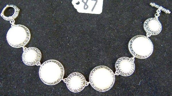925 Silver Moonstone & Marcasite Bracelet