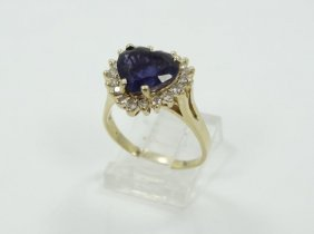 3.00ct Genuine Heart-cut Blue Sapphire & Solid 14k