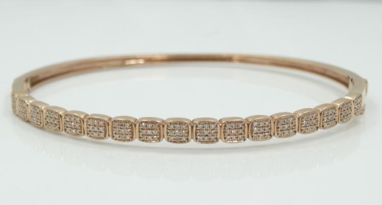 Solid 14K Rose Gold & Genuine Diamond Bangle Bracelet