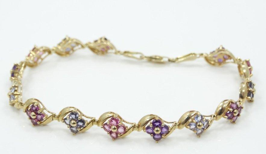 "Solid 14K Yellow Gold & Multi-Gemstone ""Flower"""