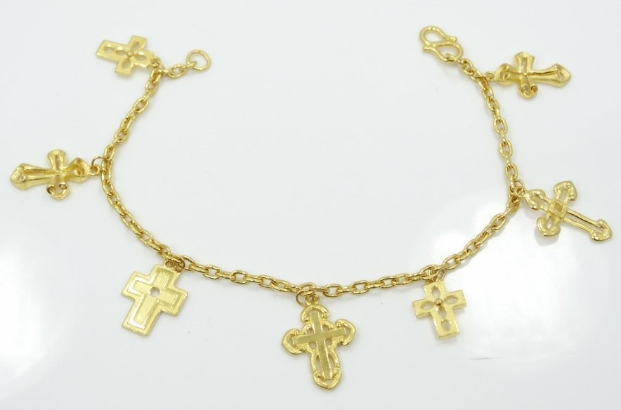 Solid 24K Yellow Gold Bracelet W/Cross Charms (17.1