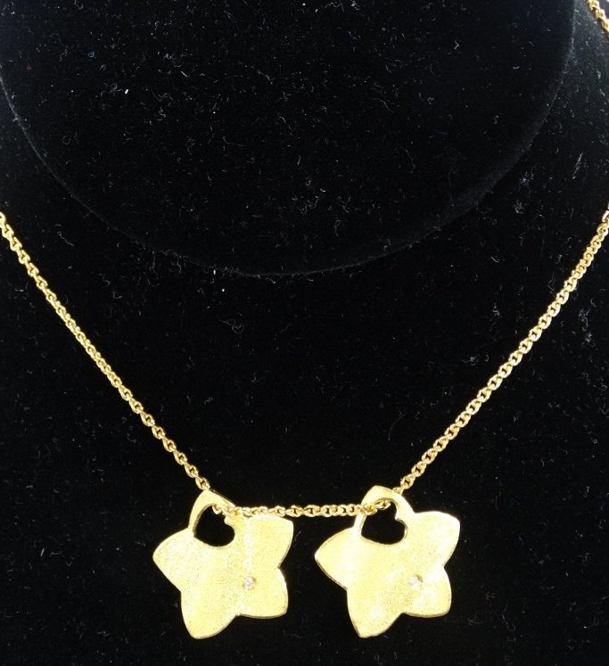 """Solid 24K Yellow Gold 24"""" Necklace W/Solid 24K Yellow"""