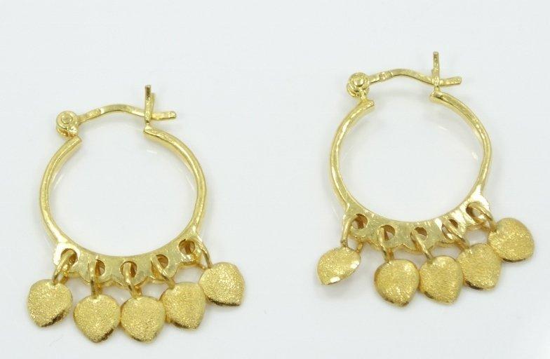 """Solid 24K Yellow Gold 1"""" Hoop Earrings W/Diamond-Cut"""