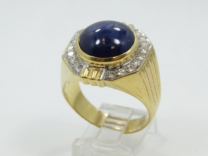 Vintage Men's Solid 18K Yellow Gold Ring W/9.00CT Royal