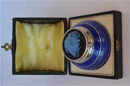 Karl Faberge Antique Russian Silver  Cobalt Blue
