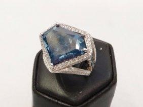 13.78ct Gia Certified Blue Shield-cut Diamond & Solid