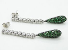 1.42ctw Genuine Emerald & Diamond, Solid 14k White Gold