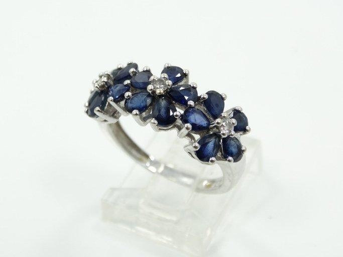 1.50CTW Genuine Blue Sapphire & Solid 18K White Gold