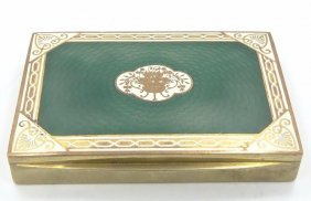 Antique Austrian Gold Washed Snuff Box W/forest Green