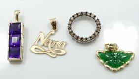 Lot Of (4) Solid Gold & Gemstone Pendants (3-solid 14k