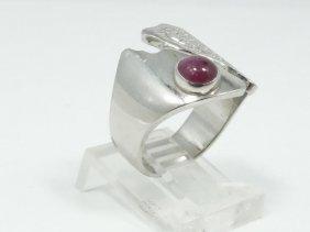Solid Platinum Designer Ring W/genuine 0.50ct Cabochon