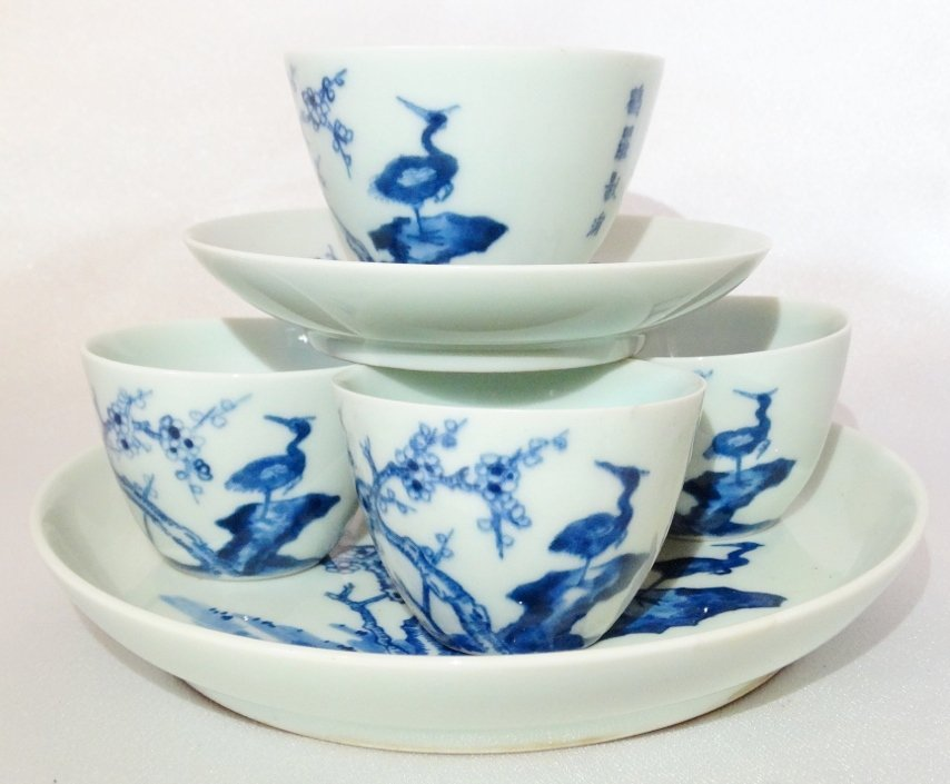 "Chinese Blue & White Porcelain ""Nesting"" Teacup Set"