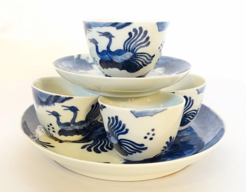 "Vietnamese Bleu de Hue Porcelain ""Nesting"" Teacup Set"