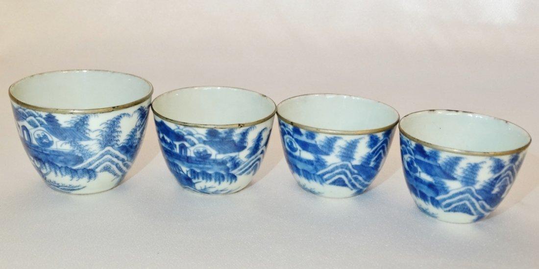 Vietnamese Bleu de Hue Porcelain Nesting Teacups