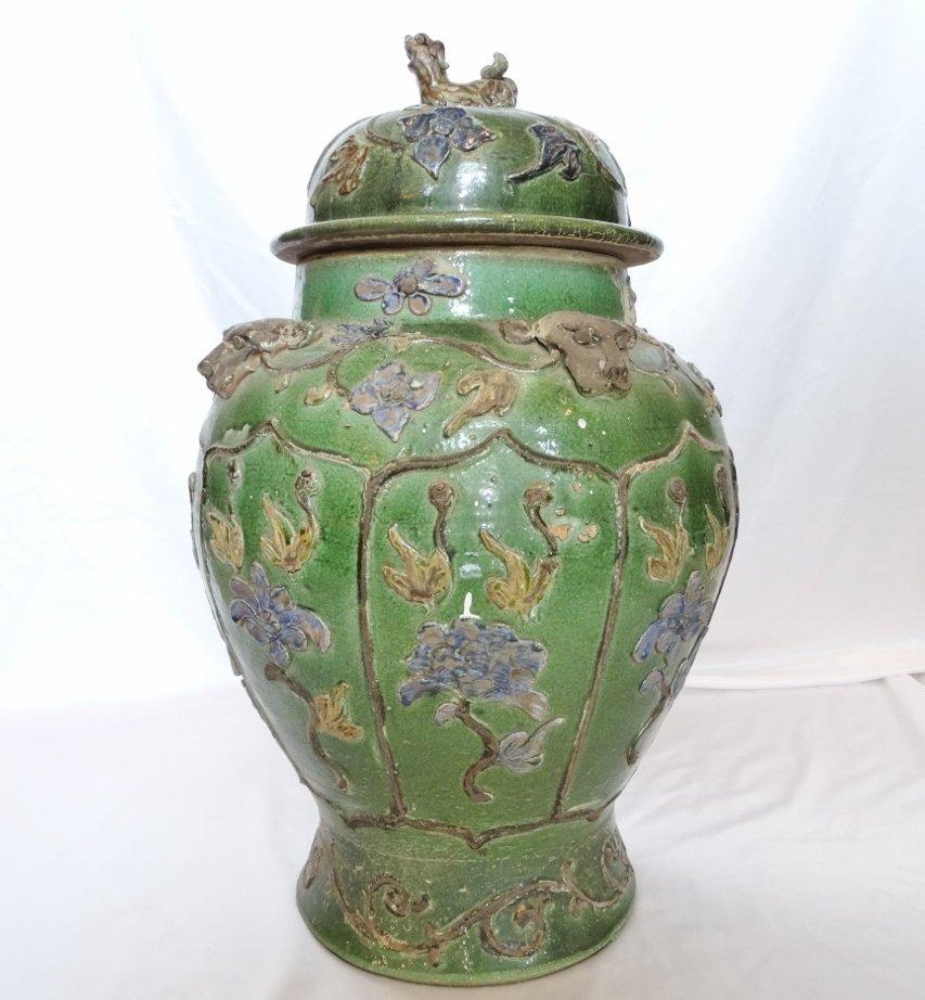 Green Glaze Speckled Covered Floor Jar W/Jaguar &